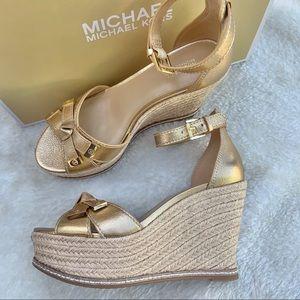 Michael Kors Ripley gold wedge sandal 6.5